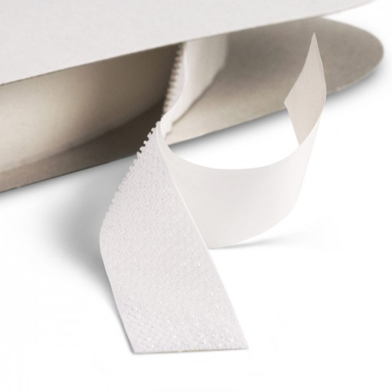 Klittenband haak op rol 20 mm breed 25 meter lang wit