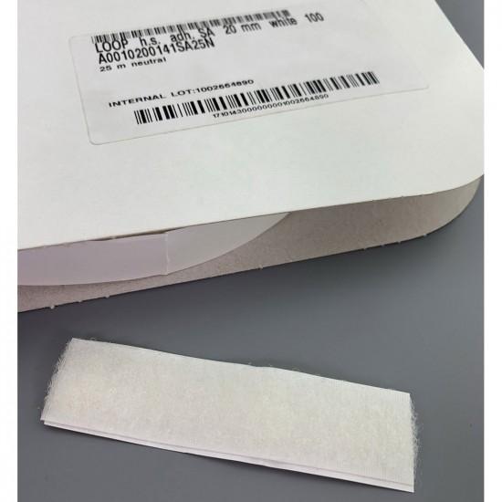 Klittenband lus op rol 20 mm breed 25 meter lang wit
