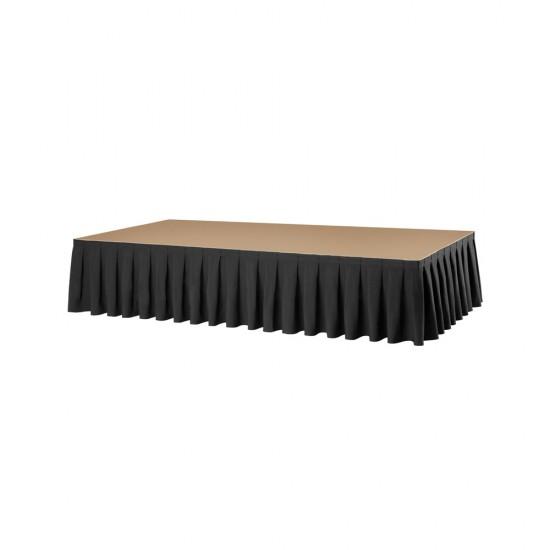 Podiumrok boxpleat met brede plooi 100 x 410 cm zwart