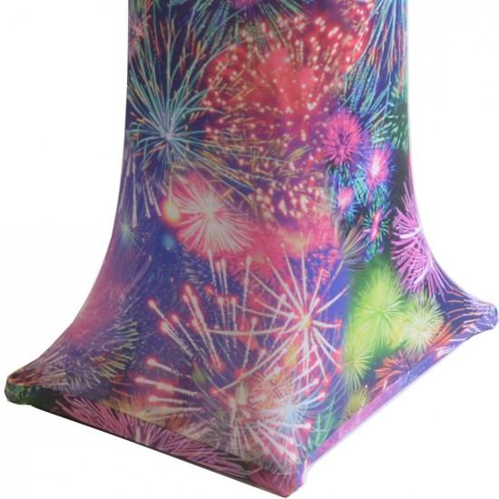 Statafelhoes met vuurwerk print rond 80-85 cm