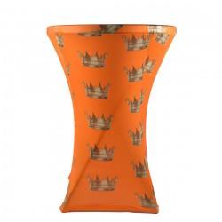 Statafelhoes oranje met kroon print rond 80-85 cm