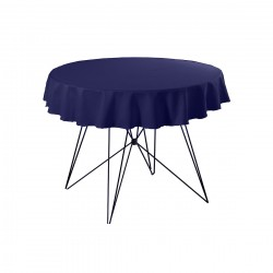 Tafelkleed rond 220 cm polyester kleur donkerblauw