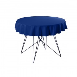 Tafelkleed rond 220 cm polyester kleur blauw