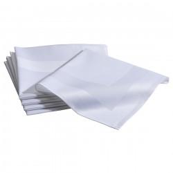 Tafelkleed katoen met satijnband 130 x 130 cm wit
