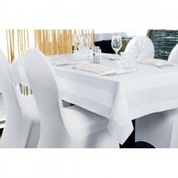 Tafelkleed katoen met satijnband 130 x 170 cm wit